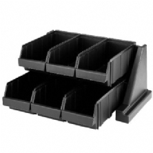 Black Versa Self Serve Condiment Bin Stand Set 6RS6 480