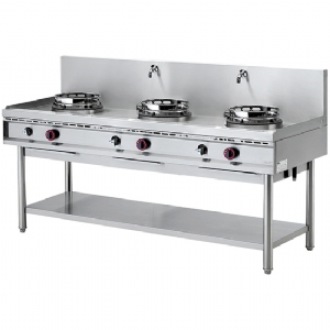 Gas wok hob with shelf, 3 burners, 2 water taps AHA0003