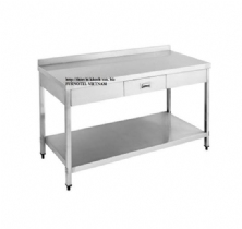 SS304 Work Bench With Drawer & Splash Back-With Under Shelf (Square tube)