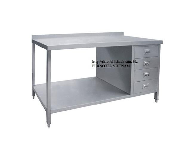 SS304 Desk With Under Shelf And Splash Back