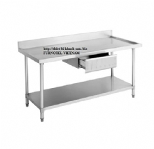 SS304 Work Bench With Drawer & Splash Back-With Under Shelf (Round)