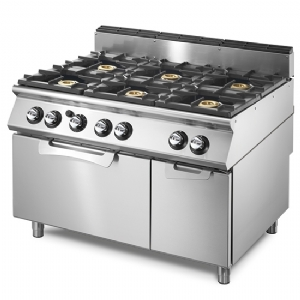 Gas range on static gas oven GN 2/1 and closed cabinet, 6 burners VS70120CFG