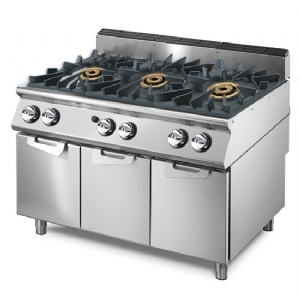 Gas range with 3 burners each 16 kW on cabinet with doors VS70120PCGPPW